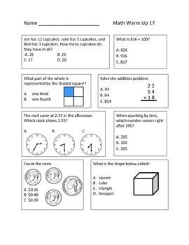 Common Core Daily Math Warm Ups - 2nd Grade February