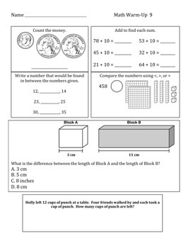 Common Core Daily Math Warm Ups - 2nd Grade January