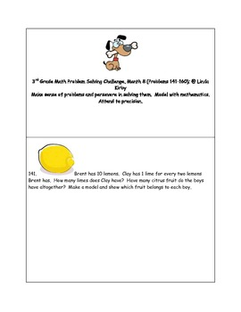 Math-3rd Grade-Month 8: Challenge Problem Solving (Questions 141-160)