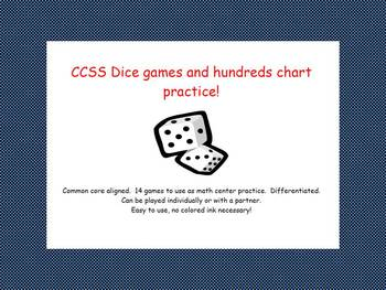 CCSS Dice Games and Hundreds Chart Math Centers