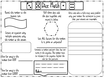 CCSS Dice Learning Stations- Reading, Writing, and Math Activities
