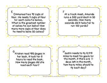 CCSS Division Word Problems 3.OA.3 4.OA.3 5.NBT.6