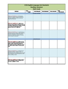 CCSS ELA Checklists 6th Grade Fully Editable Excel Document