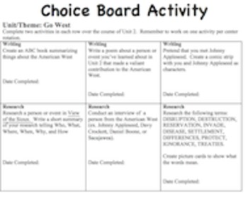 CCSS ELA Choice Board Learning Station Activities