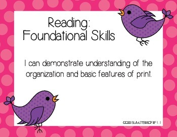 CCSS ELA First Grade I Can Posters with Birds
