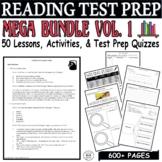 CCSS ELA Reading Test Prep Vol. 1 MEGA BUNDLE 45 Days Lessons Quizzes Activities