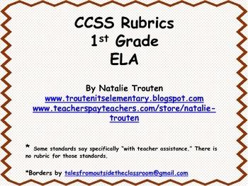 CCSS ELA Rubrics for 1st Grade