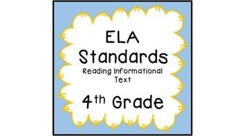 CCSS ELA Standards Reading Informational Text 4th Grade