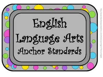CCSS English Language Arts (ELA) Anchor Standards Posters- Bright Dots