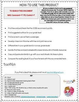 CCSS Exemplar Texts Resource List K-1