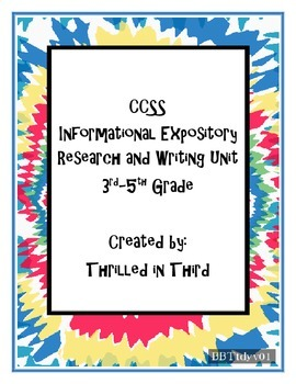 CCSS Expository Research and Writing Unit