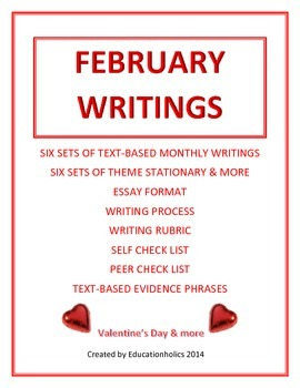 "CCSS ""FEBRUARY"" BUNDLE TEXT-BASED WRITING ASSIGNMENTS"