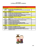CCSS First Grade Checklist In Spanish