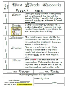 CCSS First Grade Weekly Reading Homework