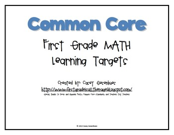 CCSS First Grade Learning Targets: Math
