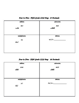 CCSS Four Operation Daily Review  Grade 5 Version