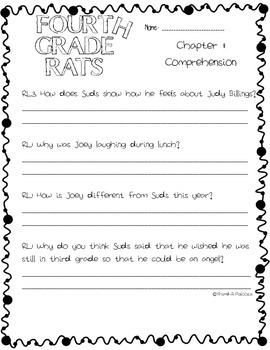 CCSS: Fourth Grade Rats by Jerry Spinelli Book Study 41 pages!