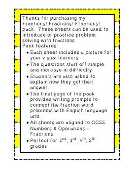 CCSS Fractions! Fractions! Fractions! Problem Solving