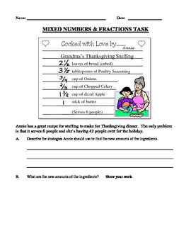 CCSS - Fractions & Mixed Number Task