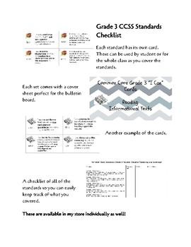 """CCSS Grade 3 All Standards """"I Can"""" Cards and Teacher Standards Checklist"""