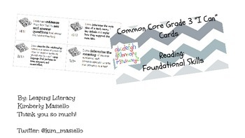 """CCSS Grade 3 Reading """"I Can"""" Cards and Teacher Standards Checklist"""