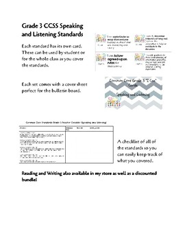 "CCSS Grade 3 Speaking/Listening ""I Can"" Cards and Teacher Standards Checklist"