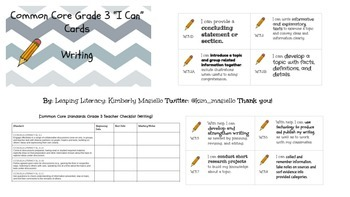 """CCSS Grade 3 Writing """"I Can"""" Cards and Teacher Standards Checklist"""
