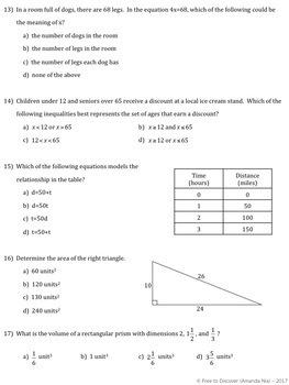 CCSS Grade 6 Math Pre-Assessment and Post-Assessment