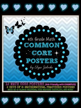 """CCSS """"I CAN"""" STATEMENTS & 8 MATHEMATICAL PRACTICES POSTER SETS {4th Grade Math}"""