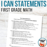 I CAN Statements 1st Grade Math CCSS