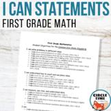 I CAN Statements 1st Grade Math CCSS