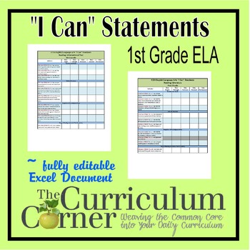 """CCSS """"I Can"""" Statements Checklists 1st Grade ELA Fully Editable Excel Document"""