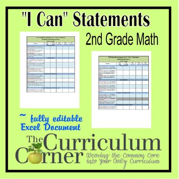 "CCSS ""I Can"" Statements Checklists 2nd Grade Math Fully Editable Excel Document"