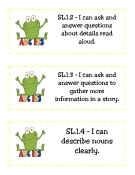 "CCSS ""I Can"" Statements(Student Lang.)-ELA and Math- Frog Theme"