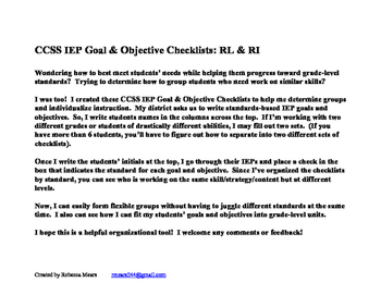 CCSS IEP Goal/Obj Checklist: RL & RI