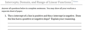 CCSS Identifying Intercepts, Domain, and Range of Linear Functions