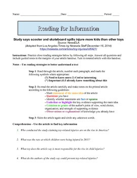 7th Grade Close Reading Article - Are Scooters Safe?