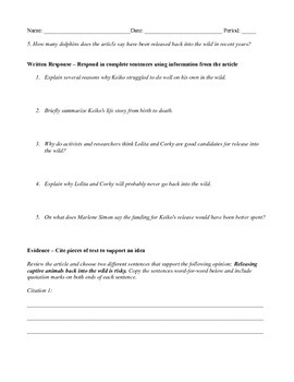 7th Grade Close Reading Article - Lessons From Freeing Keiko the Whale