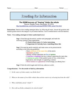 7th Grade Close Reading Article - Lessons From Freeing Kei