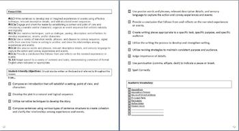 Common Core State Standards Calendar and Lesson Plans Grade 8 English Unit 2