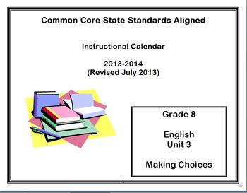 Common Core State Standards Calendar and Lesson Plans Grade 8 English Unit 3