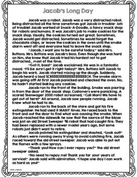 CCSS Jacob's Long Day: Fiction Fluency Passage/Close Read + TD Questions