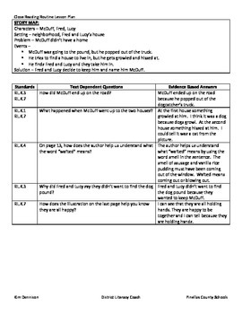 CCSS: K-1 Close Reading Lesson for McDuff Moves In