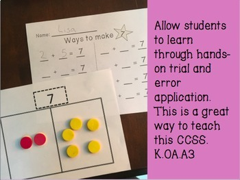 CCSS K.OA.A.3 Decomposing Numbers 1-10!!!!!!