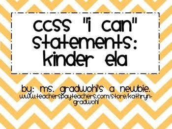 CCSS Kinder I can... ELA
