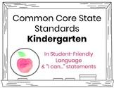 CCSS Kindergarten Editable Standards in Student-Friendly L