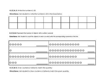 CCSS Kindergarten Math Assessments - Counting & Cardinality