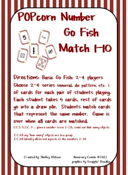 CCSS {Kindergarten} Popcorn number match 1-10
