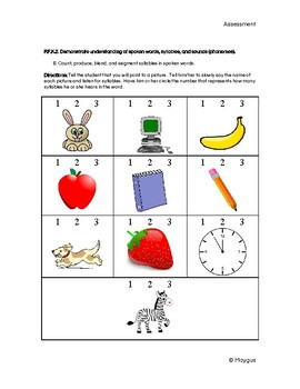 CCSS Kindergarten Reading Foundation Skills Assessments