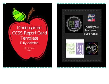 CCSS Kindergarten Report Card Template
